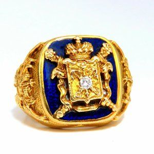 Vintage Coat of Arms Royal Crest Iconic Mens Ring